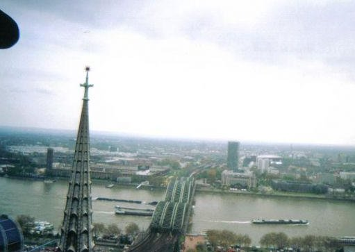 Cologne Germany Looking out over the Rhine river, Cologne.