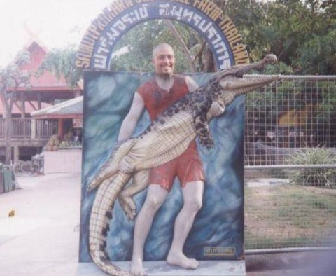 At the Crocodile Farm in Bangkok., Thailand