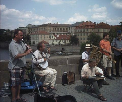Street musicians on Charles Bridge in Prague., Czech Republic