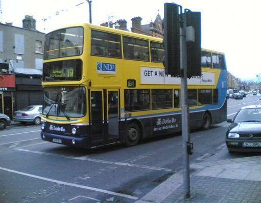 Typicial Irish bus in Dublin., Ireland