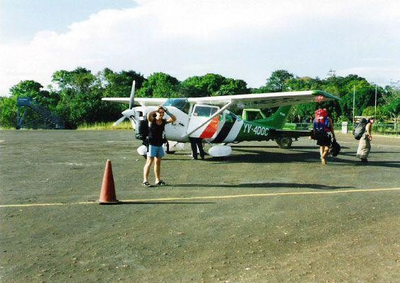Getting on the flight to Cainama, Venezuela., Canaima Venezuela