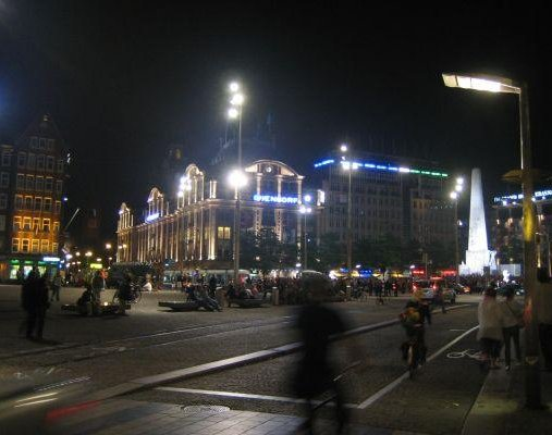Pictures of Amsterdam, Dam Square by night., Netherlands