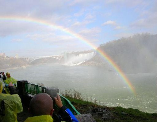 Photo of a rainbow at the Niagara Falls., Canada