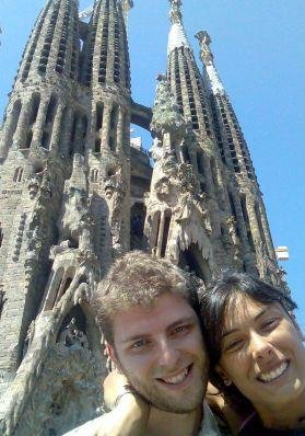 Barcelona Spain Picture in front of the Sagrada Familia, Barcelona.