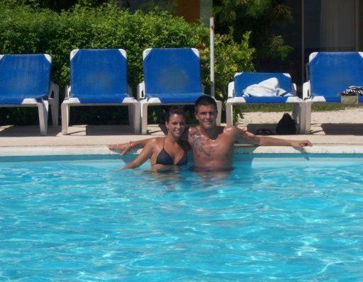 Me and Viola in the pool., Mexico