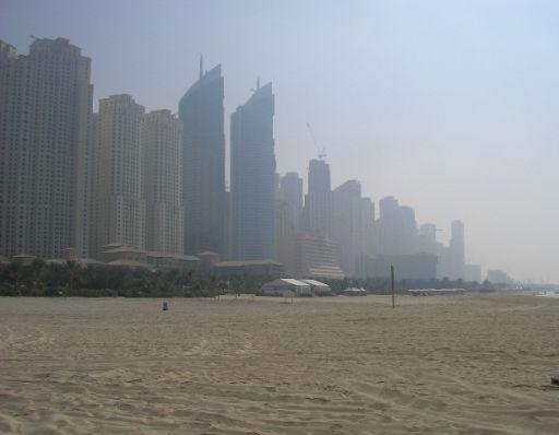 Dubai United Arab Emirates Skyscrapers from the beach, the skyline of Dubai.