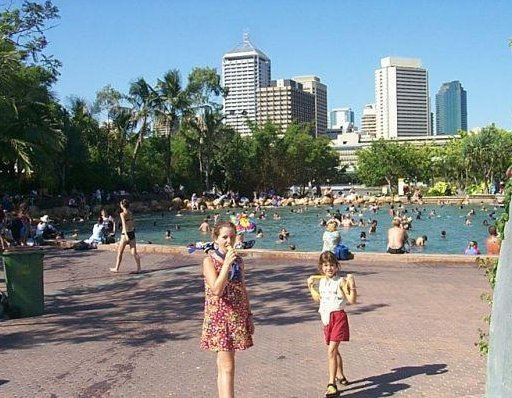 Photos of the swimming lagoon of Brisbane, Australia. Brisbane