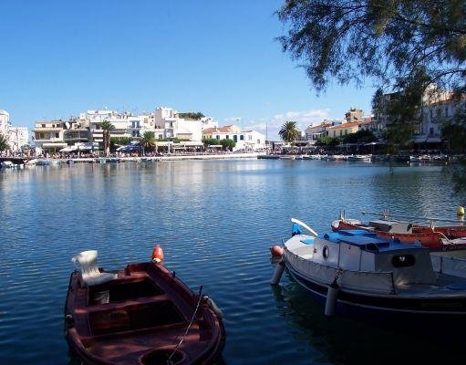 Pictures of the typical Greek boats on the island of Crete., Greece