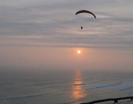 Paragliding in the quarter of Miraflores, Lima, Peru., Lima Peru
