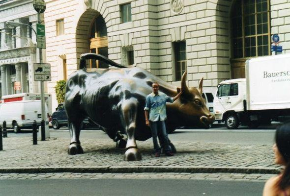 New York United States Sculpture of the Charging Bull in New York City.