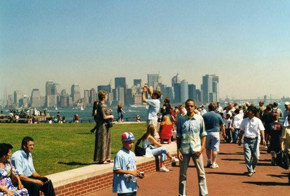 Taking pictures at the of Liberty, New York.