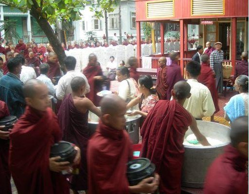 Monks in Amarapura coming together to eat and protest. , Myanmar