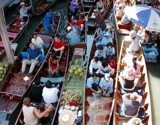 The floating market in Thailand., Thailand