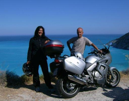 The two bikers in Greece., Kefalonia Greece