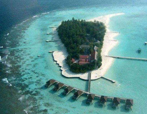The Maayafushi island from the plane. Male