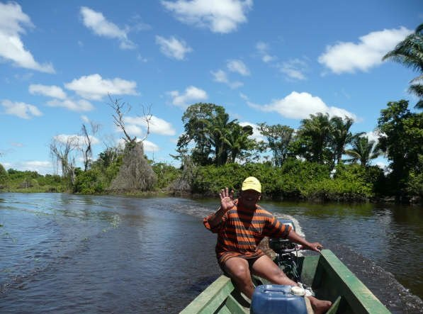 Canoe excursion through the Bolivan pampas., Bolivia