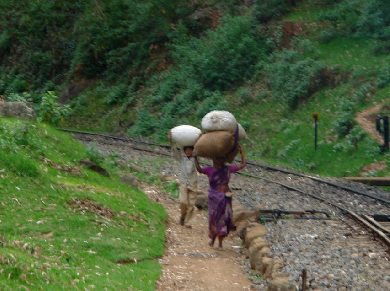 Mother and son carrying food along the railway in India., India