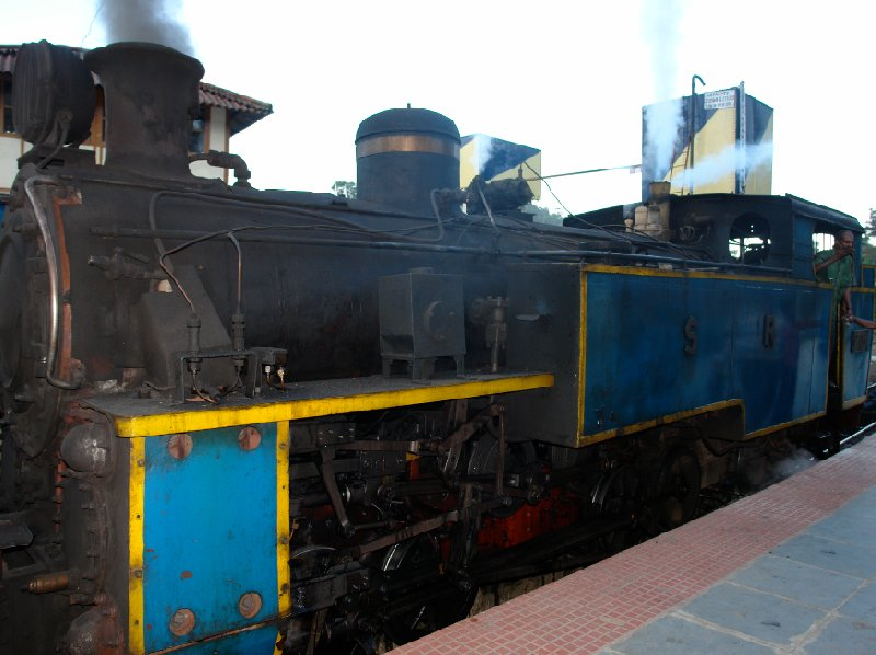 The engines of an Indian steam train., India