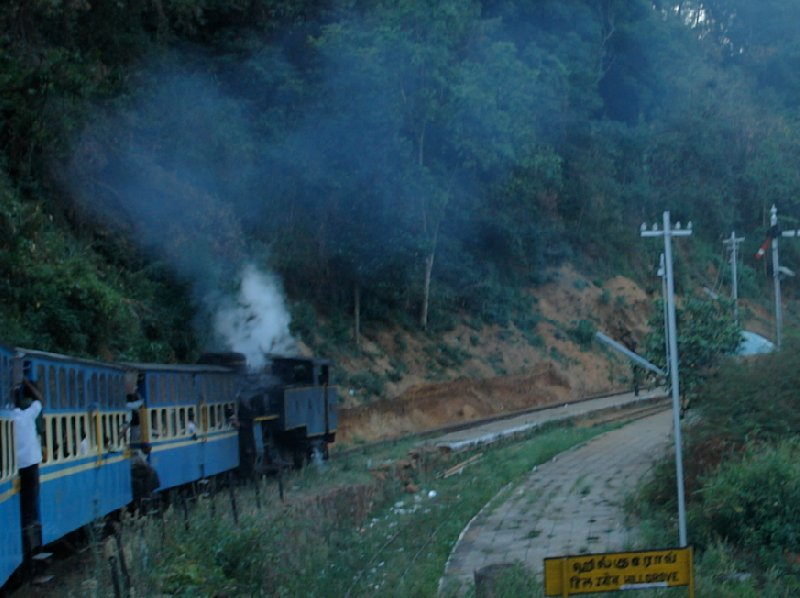The blue old train bringing us to Kerala., India