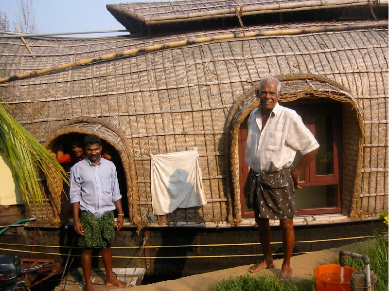 Kerala India The whole crew of the houseboat in India.