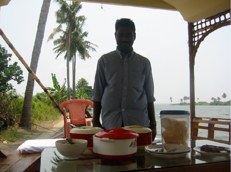 Our private chef on board of the houseboat, Kerala, India., India