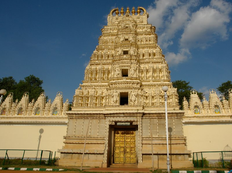 The golden door entrance of the Sri Bhuvaneswari temple in Mysore., India