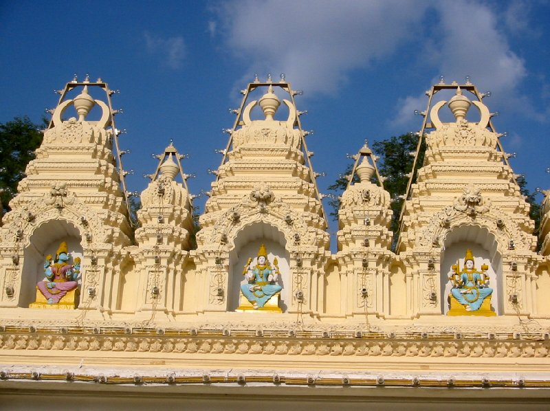 Ornaments and Hindu statues of the Sri Bhuvaneswari temple in Mysore., Mysore India