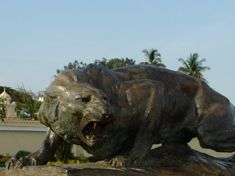 Bronze lion sculpture at the Mysore Palace., Mysore India