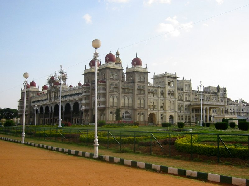 Side angle photo of the Mysore Palace., Mysore India
