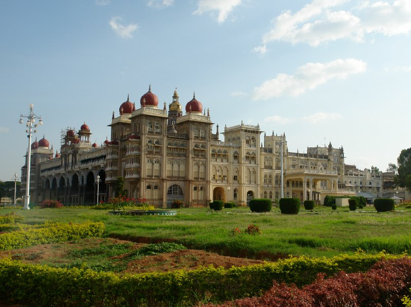 Picture of the Mysore Palace and the beautiful palace gardens, India., India