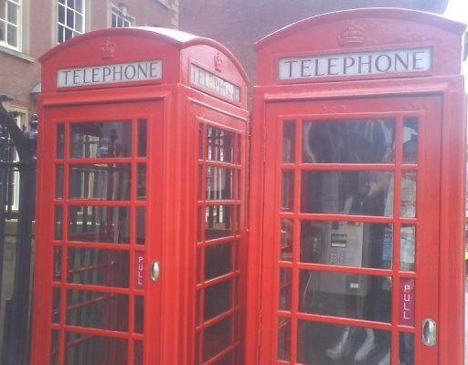 The english phone booths in Notthingham., United Kingdom
