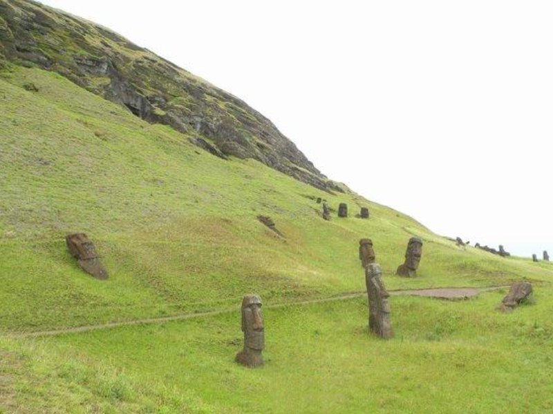 The ancient Moai sculptures, Chile, Chile