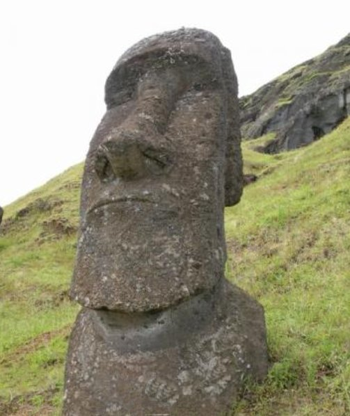 Photos of the Moai sculptures on Easter Island, Chile