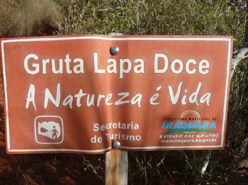 Gruta Lapa Doce park sign in Lencois, Lencois Brazil