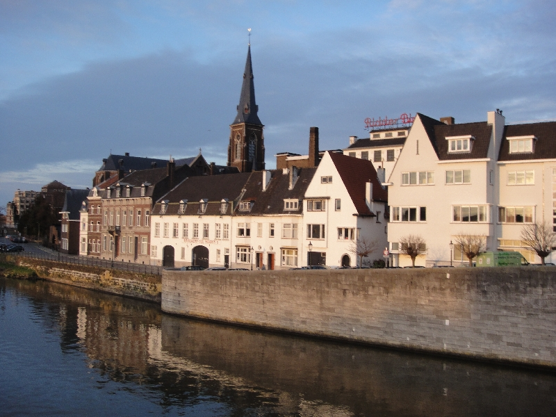 Medieval warehouses in Maastricht, along the Maas, Netherlands