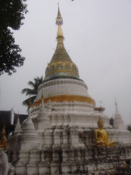 White and golden chedi of Wat Bupparam, Chiang Mai, Chiang Mai Thailand