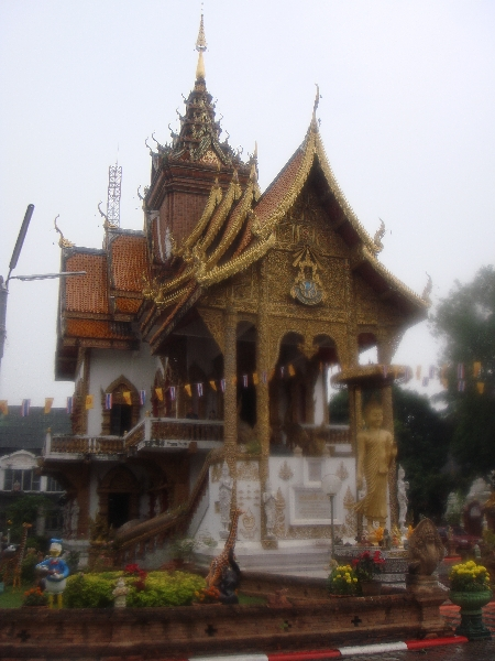Temple in teak Lanna style at Wat Bupparam, Chiang Mai, Chiang Mai Thailand