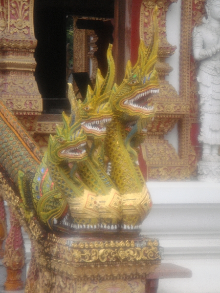 Decorated dragon statues at Wat Bupparam, Chiang Mai, Thailand