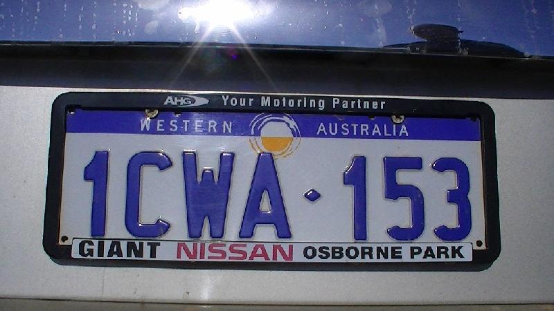 Canberra Australia Western Australia License Plate Australia