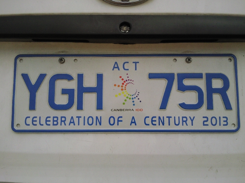 Celebration of a Century 2013 License Plate Australia, Canberra Australia