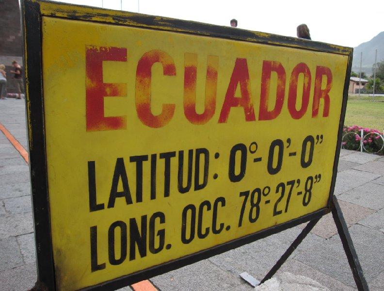 Ecuador latitude and longitude statistics at La Mitad del Mundo, Ecuador