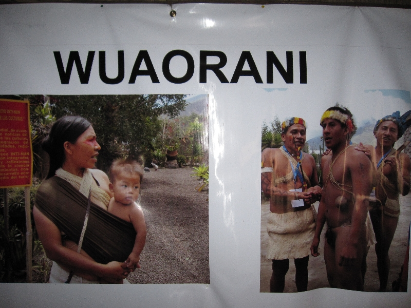 Photos of the Wuaorani people at the Museo Inti Nan in Ecuador Quito
