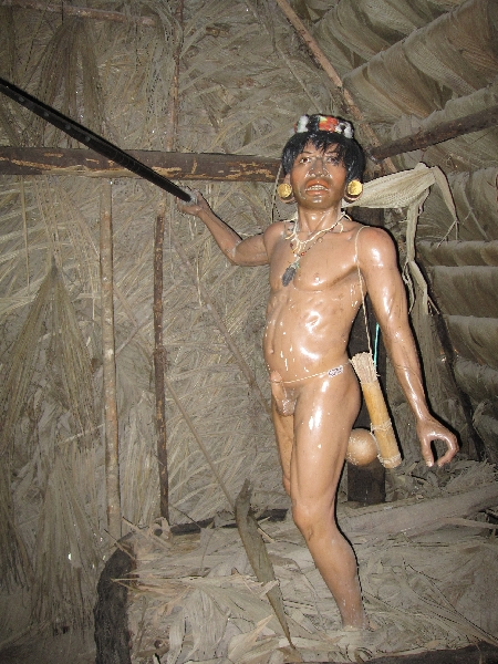 Reconstruction of a member of the Wuaorani comunity in Ecuador, Ecuador