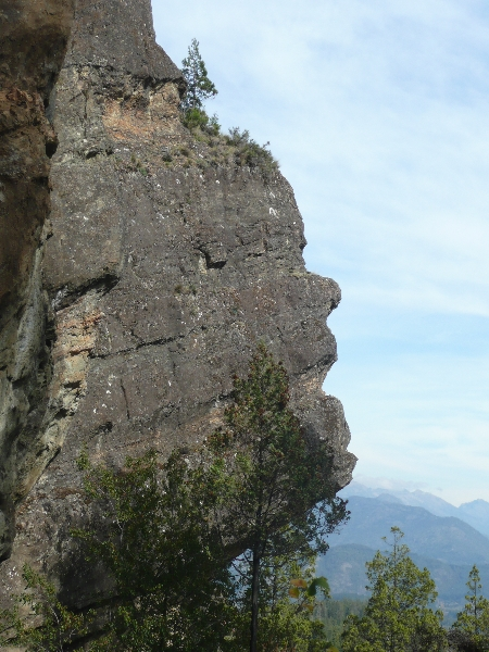 The Indian Head rock sculptures near the Azul River valley viewpoint, El Bolson Argentina