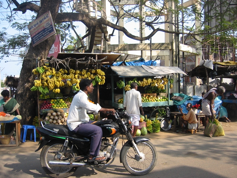 Market stand and bananas in Mahabalipuram, India, India