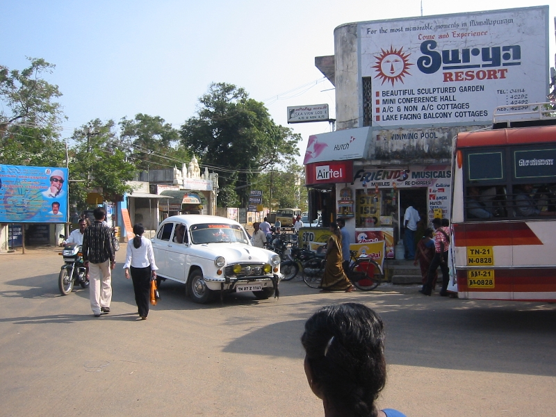 Street panorama of Mahabalipuram, India, India