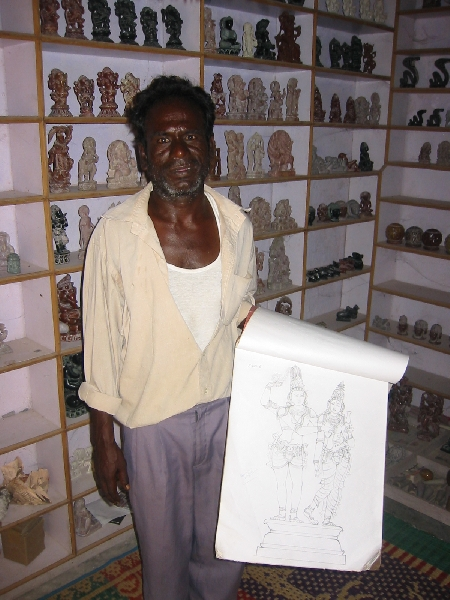 Mahabalipuram India Local rock sculpture art shop in Mamallapuram, India
