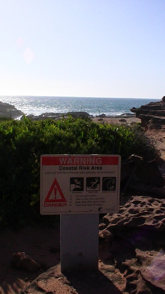 Warning signs Mushroom Rock, Kalbarri, Australia