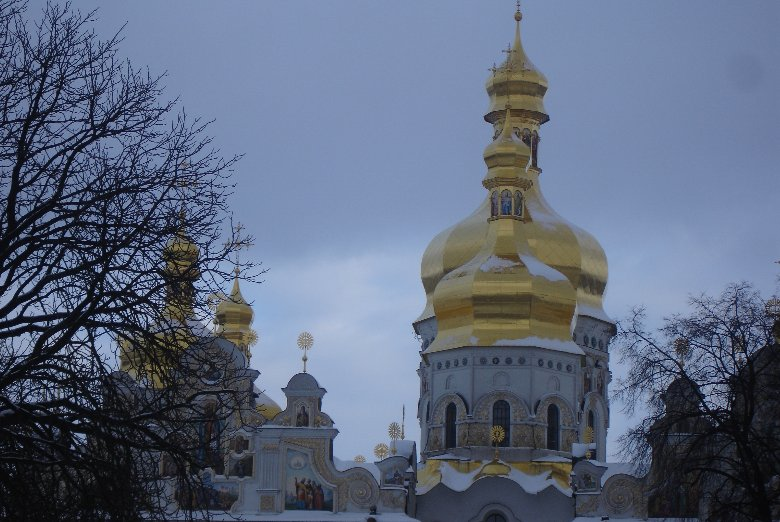 Holy Dormition Cathedral in the snow, Ukraine, Kiev Ukraine