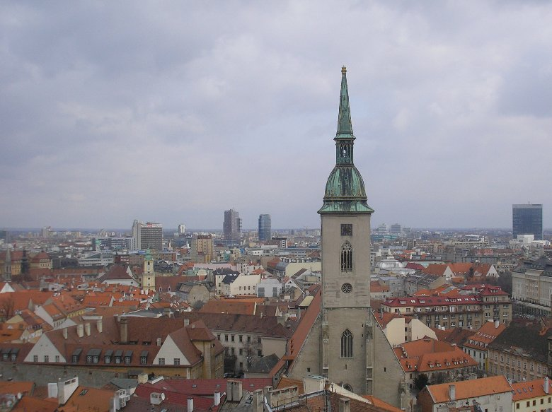 Panoramic photos of Bratislava with the St. Martin Cathedral, Slovakia